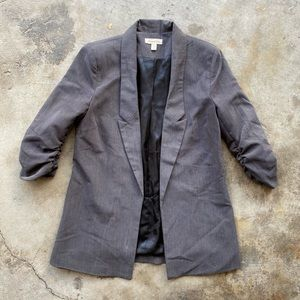 Silence + Noise Gray Blazer with Ruched Sleeves